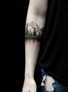 Фото тату море и горы 23.07.2019 №016 - mountain sea tattoo - tattoo-photo.ru