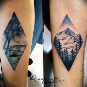 Фото тату море и горы 23.07.2019 №020 - mountain sea tattoo - tattoo-photo.ru