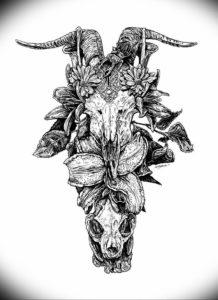 Фото тату череп козла 28.07.2019 №072 - goat skull tattoo - tattoo-photo.ru