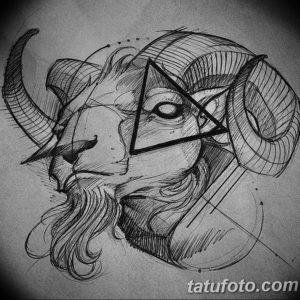 Фото тату череп козла 28.07.2019 №099 - goat skull tattoo - tattoo-photo.ru