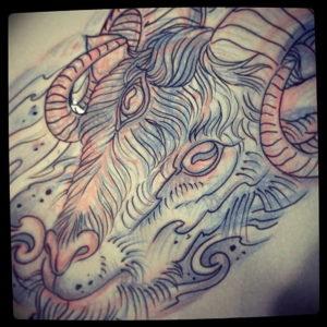 Фото тату череп козла 28.07.2019 №105 - goat skull tattoo - tattoo-photo.ru