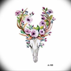 Фото тату череп козла 28.07.2019 №138 - goat skull tattoo - tattoo-photo.ru