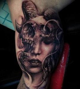 Фото тату череп козла 28.07.2019 №170 - goat skull tattoo - tattoo-photo.ru