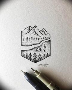 Фото эскиз тату горы 23.07.2019 №025 - sketch of a mountain tattoo - tattoo-photo.ru