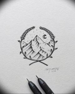 Фото эскиз тату горы 23.07.2019 №029 - sketch of a mountain tattoo - tattoo-photo.ru