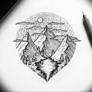 Фото эскиз тату горы 23.07.2019 №031 - sketch of a mountain tattoo - tattoo-photo.ru