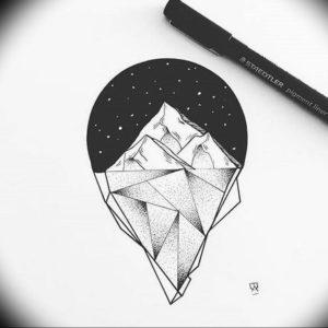 Фото эскиз тату горы 23.07.2019 №034 - sketch of a mountain tattoo - tattoo-photo.ru