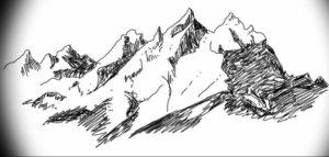Фото эскиз тату горы 23.07.2019 №035 - sketch of a mountain tattoo - tattoo-photo.ru