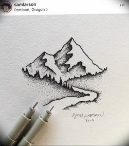 Фото эскиз тату горы 23.07.2019 №036 - sketch of a mountain tattoo - tattoo-photo.ru