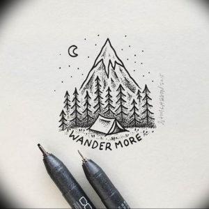 Фото эскиз тату горы 23.07.2019 №037 - sketch of a mountain tattoo - tattoo-photo.ru