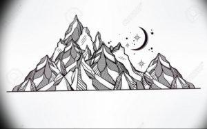 Фото эскиз тату горы 23.07.2019 №045 - sketch of a mountain tattoo - tattoo-photo.ru