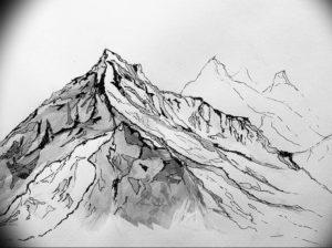 Фото эскиз тату горы 23.07.2019 №047 - sketch of a mountain tattoo - tattoo-photo.ru