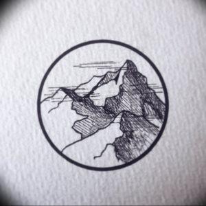 Фото эскиз тату горы 23.07.2019 №048 - sketch of a mountain tattoo - tattoo-photo.ru