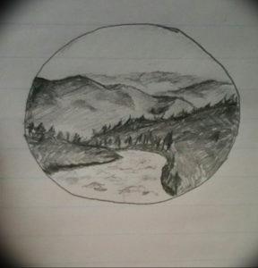 Фото эскиз тату горы 23.07.2019 №050 - sketch of a mountain tattoo - tattoo-photo.ru