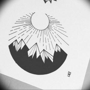 Фото эскиз тату горы 23.07.2019 №051 - sketch of a mountain tattoo - tattoo-photo.ru