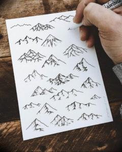 Фото эскиз тату горы 23.07.2019 №052 - sketch of a mountain tattoo - tattoo-photo.ru