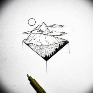 Фото эскиз тату горы 23.07.2019 №059 - sketch of a mountain tattoo - tattoo-photo.ru