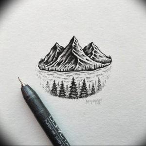 Фото эскиз тату горы 23.07.2019 №063 - sketch of a mountain tattoo - tattoo-photo.ru