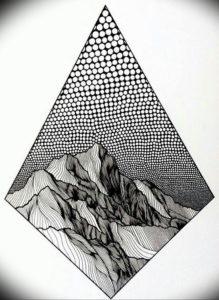Фото эскиз тату горы 23.07.2019 №064 - sketch of a mountain tattoo - tattoo-photo.ru