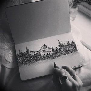 Фото эскиз тату горы 23.07.2019 №085 - sketch of a mountain tattoo - tattoo-photo.ru