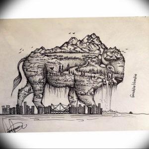 Фото эскиз тату горы 23.07.2019 №120 - sketch of a mountain tattoo - tattoo-photo.ru