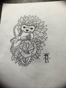 Photo ежик тату эскиз 31.07.2019 №001 - hedgehog tattoo sketch - tattoo-photo.ru