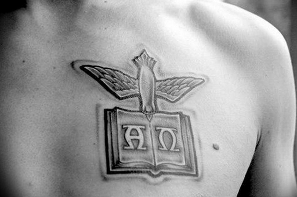 Фото пример альфа и омега тату 13.08.2019 №039 - tattoo alpha beta omeg - tattoo-photo.ru