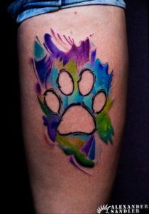 Фото тату лапка собаки 12.08.2019 №043 - dog paw tattoo - tattoo-photo.ru
