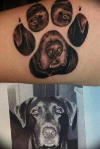 Фото тату лапка собаки 12.08.2019 №053 - dog paw tattoo - tattoo-photo.ru