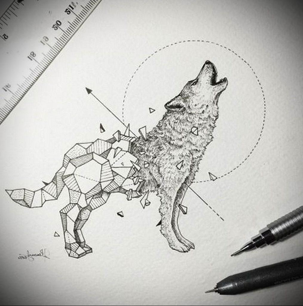 Фото волк тату эскиз 13.09.2019 №018 - wolf tattoo sketch - tattoo-photo.ru