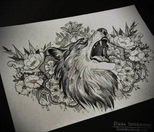 Фото волк тату эскиз 13.09.2019 №031 - wolf tattoo sketch - tattoo-photo.ru