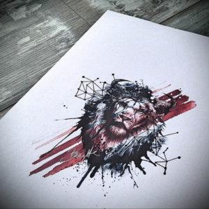 Фото лев тату эскиз 13.09.2019 №038 - lion tattoo sketch - tattoo-photo.ru