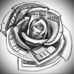 Фото роза тату эскиз 13.09.2019 №008 - rose tattoo sketch - tattoo-photo.ru