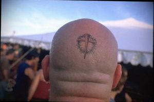 крест на затылке тату 24.09.2019 №007 -the back of the head tattoo- tattoo-photo.ru