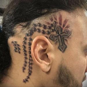 крест на затылке тату 24.09.2019 №008 -the back of the head tattoo- tattoo-photo.ru