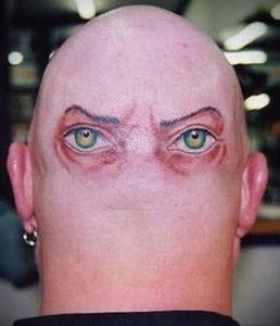 тату глаз на затылке 24.09.2019 №001 -the back of the head tattoo- tattoo-photo.ru