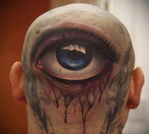 тату глаз на затылке 24.09.2019 №003 -the back of the head tattoo- tattoo-photo.ru