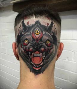 тату глаз на затылке 24.09.2019 №009 -the back of the head tattoo- tattoo-photo.ru