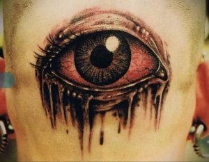 тату глаз на затылке 24.09.2019 №010 -the back of the head tattoo- tattoo-photo.ru