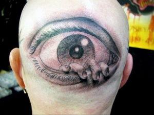 тату глаз на затылке 24.09.2019 №013 -the back of the head tattoo- tattoo-photo.ru