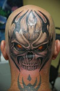 тату глаз на затылке 24.09.2019 №014 -the back of the head tattoo- tattoo-photo.ru