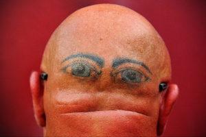 тату глаз на затылке 24.09.2019 №016 -the back of the head tattoo- tattoo-photo.ru
