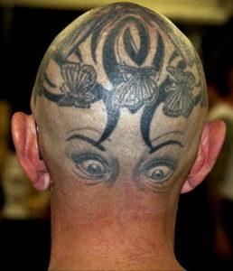 тату глаз на затылке 24.09.2019 №022 -the back of the head tattoo- tattoo-photo.ru