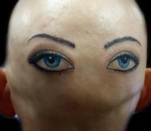тату глаз на затылке 24.09.2019 №023 -the back of the head tattoo- tattoo-photo.ru