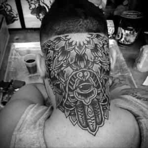тату глаз на затылке 24.09.2019 №025 -the back of the head tattoo- tattoo-photo.ru