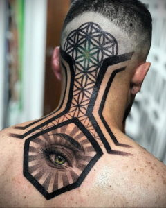 тату глаз на затылке 24.09.2019 №029 -the back of the head tattoo- tattoo-photo.ru