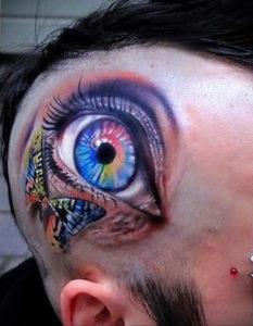 тату глаз на затылке 24.09.2019 №030 -the back of the head tattoo- tattoo-photo.ru