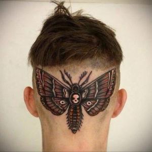 тату крылья на затылке 24.09.2019 №003 -the back of the head tattoo- tattoo-photo.ru