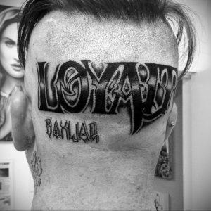 тату надписи на затылке 24.09.2019 №005 -the back of the head tattoo- tattoo-photo.ru
