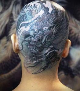 тату на затылке для девушек 24.09.2019 №013 -the back of the head tattoo- tattoo-photo.ru